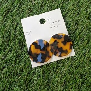 A New Day Brown Tortoise Resin Disc Earrings